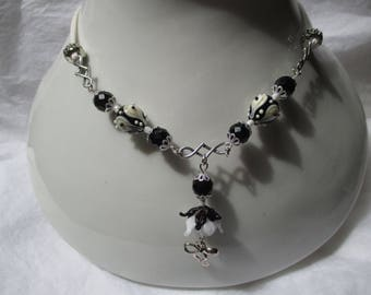 black and white necklace with Lampwork beads
