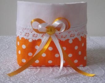 cotton basket orange with small polka dots