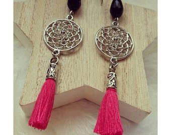 Black Pearl and silver metal connector pink tassel earrings