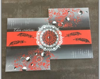 Red and grey contemporary painting, diptych