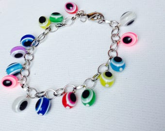 Multicolored charms bracelet beads lucky Turkish eye