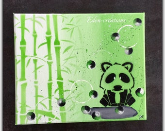 Kids personalize picture, name, panda, bamboo, stickers