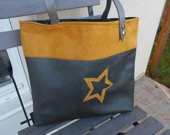 Leather bag / / //sac star tote bag / / shoulder bag