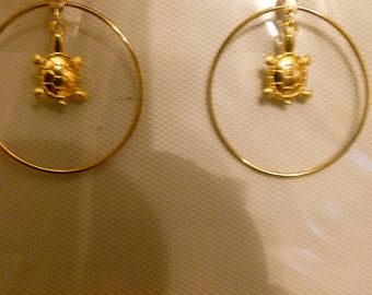 Earrings color gold with Tortoise