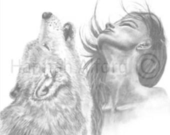 Wild Wolf and Girl Boho Art Print