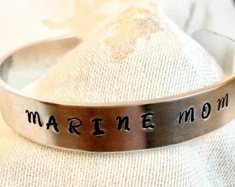 Marine Mom Bracelet, Deployment Gift, Military Pride Jewelry, Mantra Cuff, Inspirational Quote