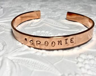 Rheumatoid Arthritis #Spoonie Copper Bracelet, RA Warrior, RA Awareness, Hand-stamped