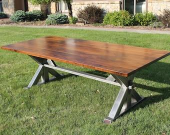 Walnut & Metal Trestle Dining Table