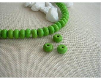 10 gem rondelles green beads