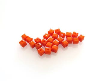 X 25 silver acrylic beads orange 5 mm