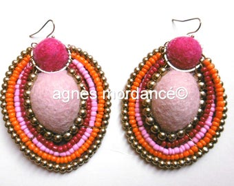"""Earrings """"Juliet"""" - large 7cm - felted wool, beads and metal - unique"""