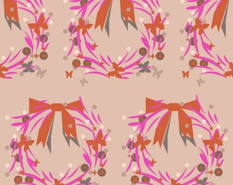 Encircled on pink print fabric