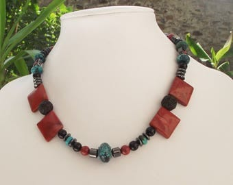 Necklace Cappadocia with bicycle red blue black and grey