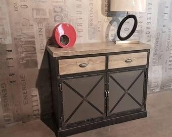 Cabinet industrial sideboard 2 door steel 2 drawers solid wood grey