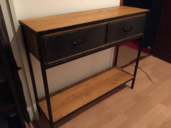 meuble industriel console d 39 entr e en acier et bois massif. Black Bedroom Furniture Sets. Home Design Ideas