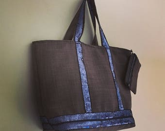 Tote Bag Style Vanessa Bruno sequins bag glitter blue grey gunmetal sequin beach bag Tote + wallet