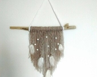 Wall hanging wool, beads and feathers