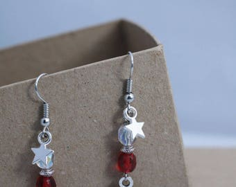 Snowflake earrings and faceted beads