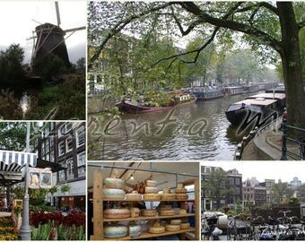 Photo memory 30X40cm: different views of Amsterdam