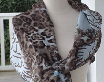 scarf woman scarf, blue and Brown