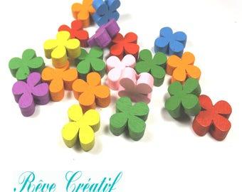 10pcs Perles en Bois motif Fleur 13mm Multicolores