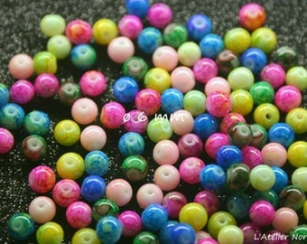 Set of 70 beads multicolored ø6mm