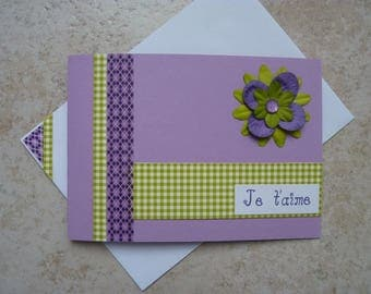 """Card """"I love you"""" green and purple"""