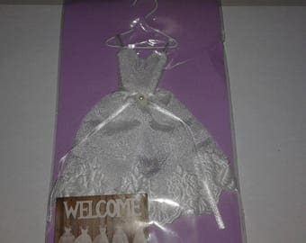 Mini wedding dress satin to create card or frame