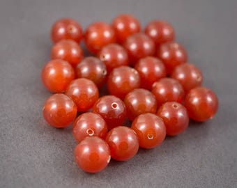 Set of 6 pcs - round beads • carnelians, agates • orange • 14mm