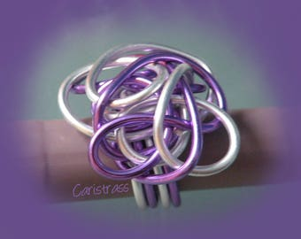 Ring silver and lilac color chaos