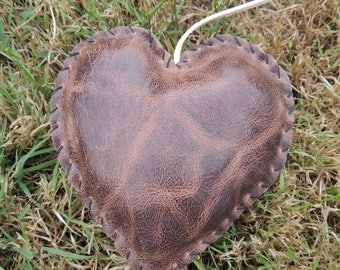 Brown leather heart
