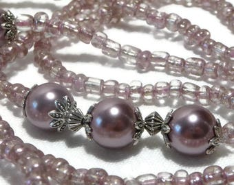 Long necklace asymmetrical vintage old pink and nude seed beads, pearls and silver metal, sensual and retro