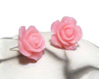 Retro romantic tangy rose flower resin earrings