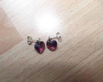 Earrings hearts Amethyst Swarovski Crystal.