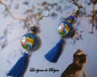 Blue Chinese style partitioned Pearl, tassel and glass bead earrings
