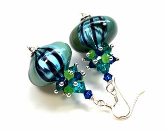 Murano earrings, Venice glass blown beads, lampwork art, Swarovski crystal, sterling silver