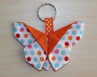 Butterfly origami - 9 x 6.5 cm - dots pattern keychain