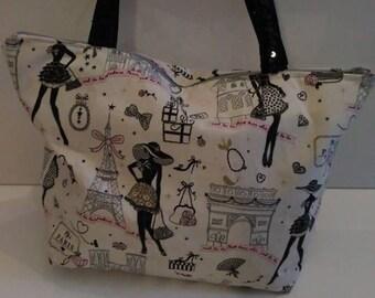 handbag paris pink and black