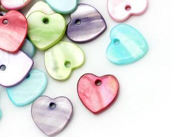 10 pendants charms heart shell 12mm x 12mm