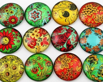 10 cabochons 25 mm glass colorful within 15 days