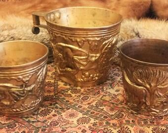 Set of 3 Vintage Grecian Hand Made Vapheio Cup