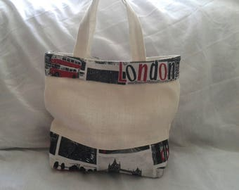 Summer burlap and cotton handbag