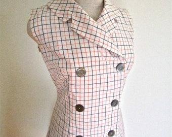 M L 60s Mod Plaid Dress Cotton Shift School Girl Sleeveless Sundress Sears White Orange Brown Grey Shirt Shirtwaist Medium Large