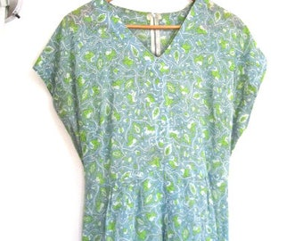 XL 50s Dress Day Casual House Summer Blue Green Floral Cotton Short Sleeves Pencil Sheath VLV Extra Large