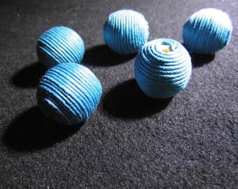 BEADS 20MM COTTON TURQUOISE BLUE FABRIC