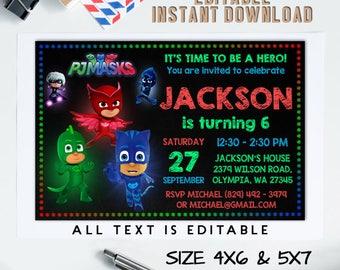 Pj Masks Invitation Instant Download, Pj Masks Birthday, Pj Masks Editable PDF, Instant Download, Editable PDF Template, Editable Invitation