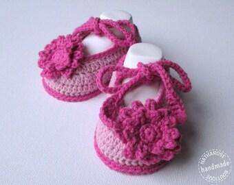 Chaussons bébé ballerines 1/3 mois rose et mauve