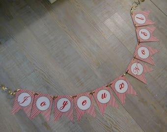 """Banner """"Joyeux Noël"""" - red stripes"""