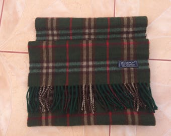 Vintage Burberrys Scarf CaVintage Burberrys Scarf Cashmere Nova Check Green Olive Made in England Wrap