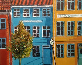 View Street, Amsterdam, colorful painting, small table, cheap, Pat and Brijou: houses